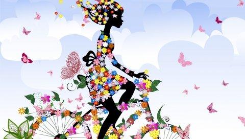Девушка, велосипед, цветы, бабочки