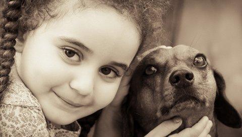 Девушка, лицо, улыбка, собаки, друзья