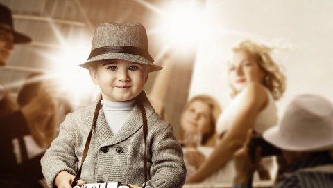 Ребенок, вечеринка, камера, люди