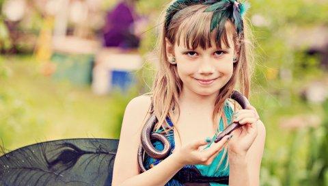 Девушка, змея, модель, фотосессия