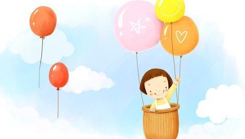 Ребенок, воздушные шары, полет, небо, облака