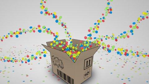 Коробка, конфеты, красочные, полет