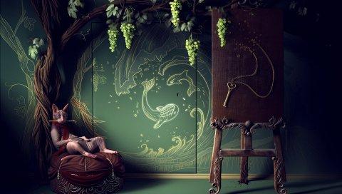 Кот, дерево, творчество, комната