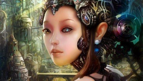 Девушка, робот, киборг, город