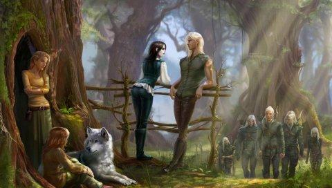 Эльфы, забор, лес, волк