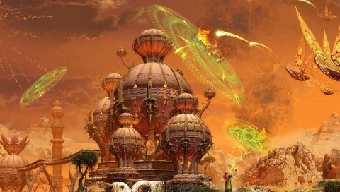 Замок, корабли, полет, атака, магия, защита