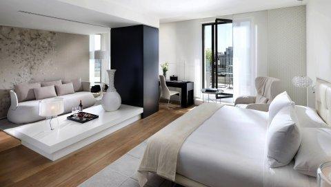 Комната, дизайн, мебель, кровать, диван, комфорт, интерьер