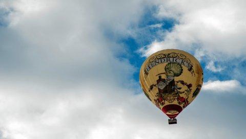 Воздушный шар, полет, небо, облака