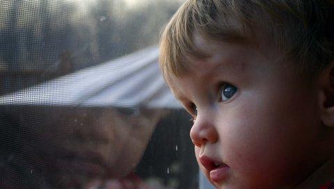Ребенок, лицо, взгляд, окно