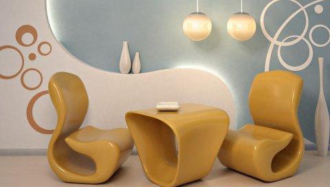 Комната, мебель, стиль, интерьер, дизайн