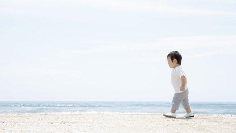 Ребенок, прогулка, пляж