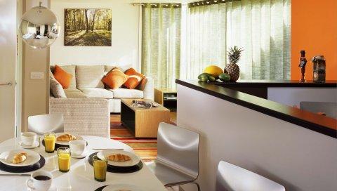 Столовая, кухня, мебель, дизайн интерьера, питание