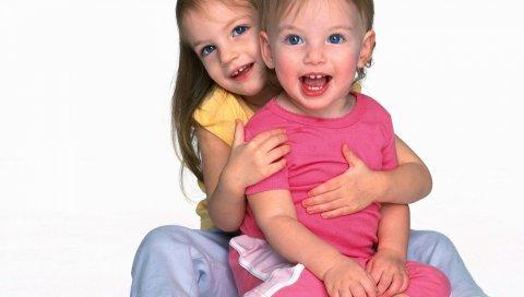 Дети, лицо, маленькие, игривые