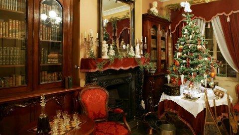 Йолка, стол, рождество, праздник, комната, комфорт