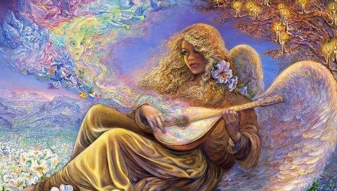 девушка, ангел, мелодия, музыка, цветы, свечи