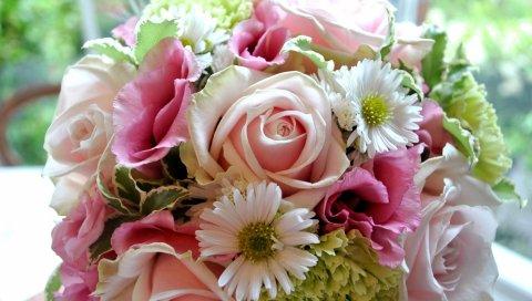 розы, Lisianthus Расселл, хризантема цветок, макро