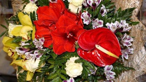 антуриум, розы, альстромерия,орхидеи, папоротники, цветы, декор