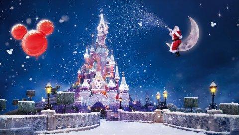 Санта -Клауса, магия, луна, снег, замок, воздушные шары, праздник, Рождество