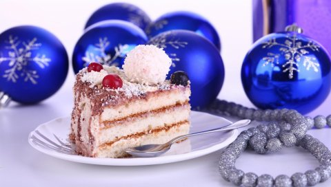 новогодние украшения, торт, лечения, праздник, новый год