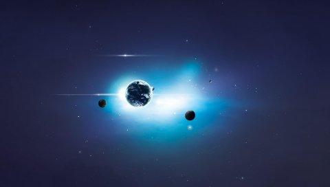 планеты, свет, сияние,звезды