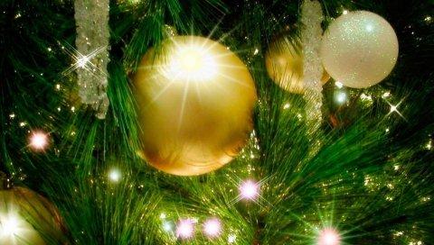 рождественские украшения, елка, гирлянда, праздник, новый год