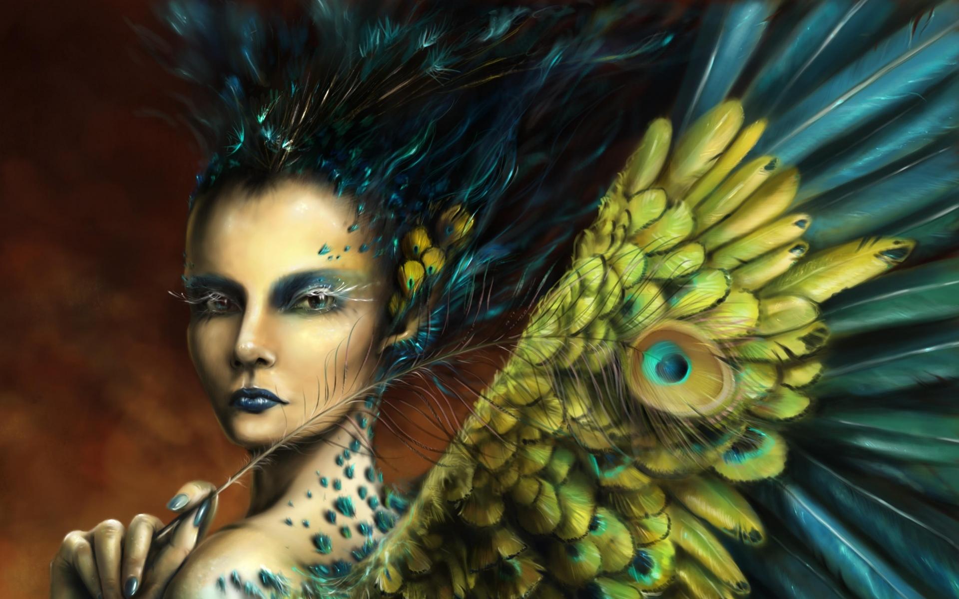 Картинки девушки, макияж, перья, крылья фото и обои на рабочий стол