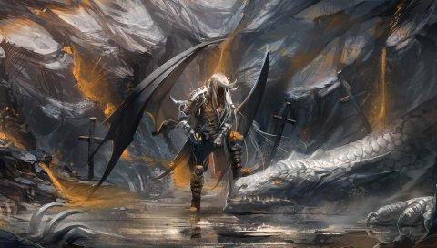 демон, дракон, пещеры, сабли