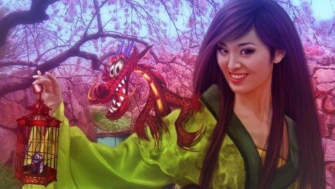 девушка, кимоно, сакура, весна, клетка, дракон
