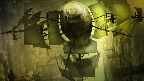 корабль, летающий, паруса, различный мир
