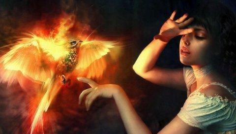 девушка, Жар, руки, крылья, свет