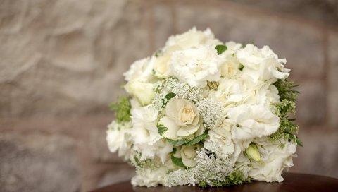 гортензии, Lisianthus Расселл, декоративная капуста, букет, белые
