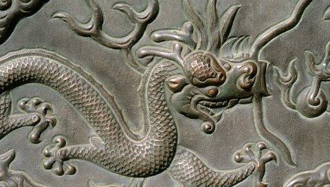 дракона, узоры, металлическая