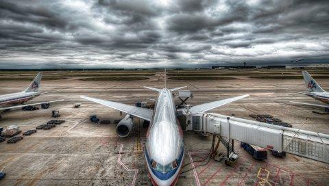 самолет, небо, облака, аэропорт, HDR