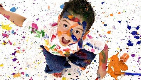 ребенок, краска, брызги