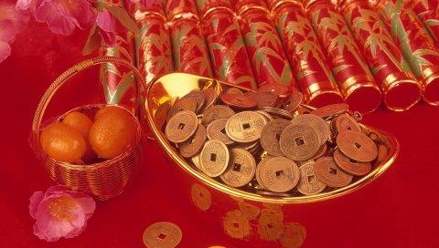 ткани, узоры, китайские монеты