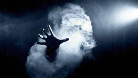 темно, рука, дым