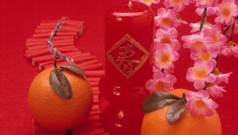 мандарины, ветви, цветы, свечи, романтика, Китай