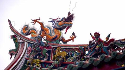 Крыша, фарфор, дракон, украшение