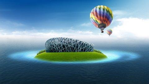 Планета, остров, мяч, полет, океан