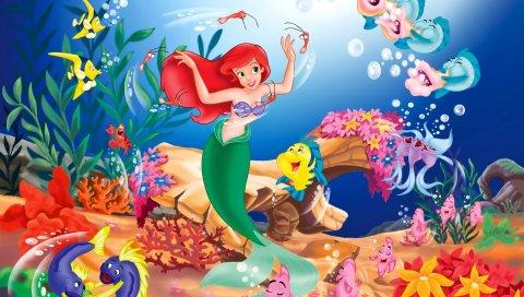 Русалка, мультфильм, подводный