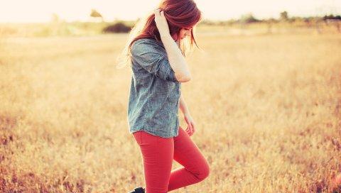 Рыжие, трава, ходьба, гольф