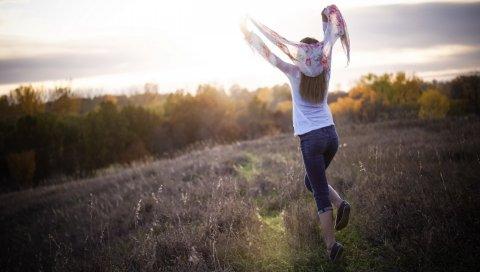 Поле, прыжок, трава, девушка, счастье