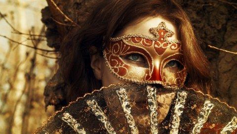 Рыжая, маска, маскарад, глаза
