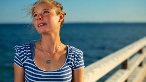 Девушка, море, полосатый, волосы, ветер