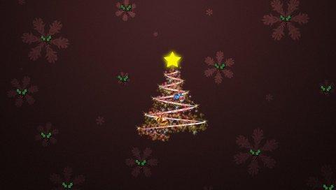 Дерево, снежинки, звезды, колокольчики