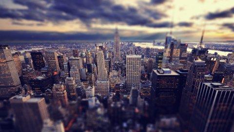Небоскребы, Нью-Йорк, небо,