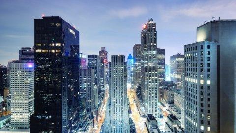 Нью-Йорк, ночь, небоскребы, вид сверху, свет