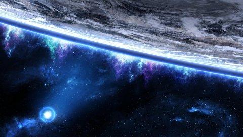 Космос, планета, орбита, крупный план, звезды