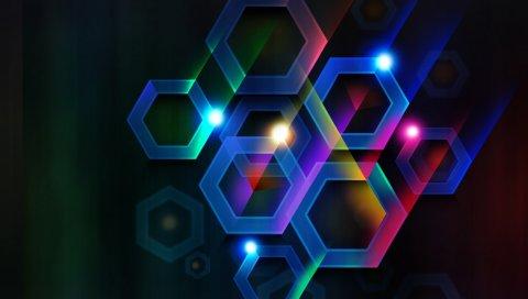 Круги, шестиугольники, черный фон, линии
