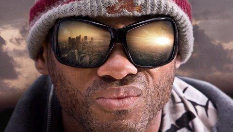 Ханкок, супергерой, лицо, солнцезащитные очки